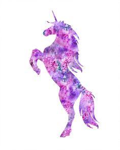 Unicorn print unicorn watercolor unicorn art by FluidDiamondArt