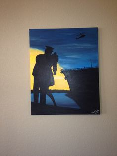 Sailors kiss painting with helicopter