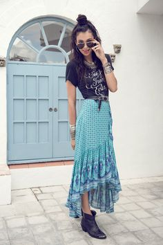 Sunset Road Wrap Skirt - Aqua