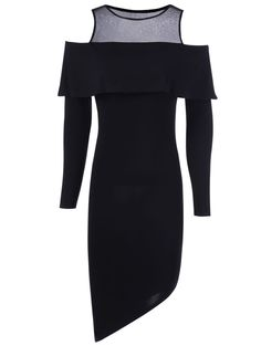 Bodycon Dresses | Cold Shoulder Overlay Women's Asymmetrical Dress #fashion #style #black #dress