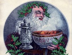 A vintage image of Father Christmas, depicted with a crown of holly. www.mythologymagazine.com