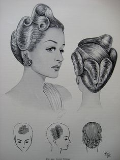 """Retro Hairstyles Vintage Pin Up Hairstyles From """"The Art and Craft of Hairdressing"""", Edited version originally published in - Blond Hairstyles, Roman Hairstyles, 1940s Hairstyles, Trendy Hairstyles, Edwardian Hairstyles, Bandana Hairstyles, Party Hairstyles, Hairdos, Bride Hairstyles"""