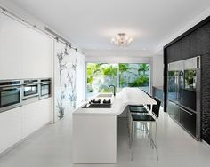 Acrylic Cabinets Design, sliding door to hide kitchen parts
