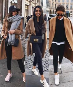 Camel coat and sneakers - Moda Femminile Look Casual Otoño, Casual Winter Outfits, Winter Fashion Outfits, Look Fashion, Fall Outfits, Autumn Fashion, Casual Chic, 50 Fashion, Fashion Styles