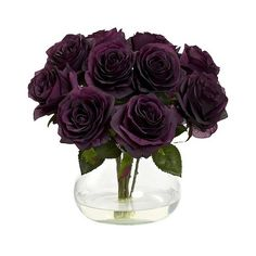 Nearly Natural Rose Arrangement with Vase (£33) ❤ liked on Polyvore featuring home, home decor, floral decor, flowers, decor, plants, purple, filler, purple artificial flowers y fabric flowers