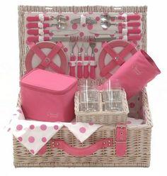Cesta rosa de lunares en http://www.picnic-uk.com/
