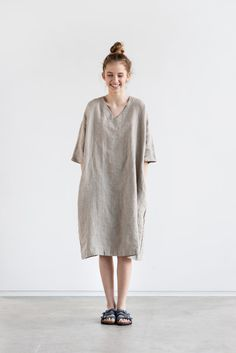 Washed and soft linen kimono tunic/dress with V neck