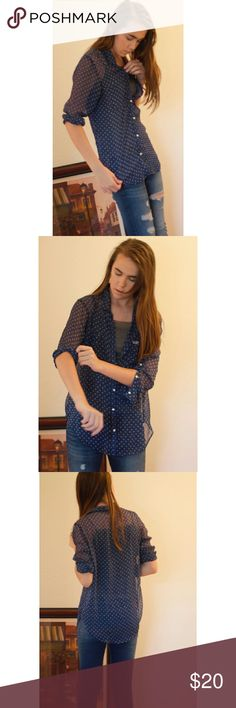 Hollister Sheer Patterned Top NWOT Hollister Tops Button Down Shirts