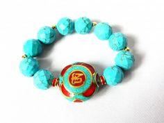 Truquoise bracelet with Tibetan handmade focal bead