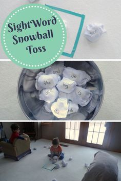sight word activities: a fun indoor snowball toss game from http://growingbookbybook.com