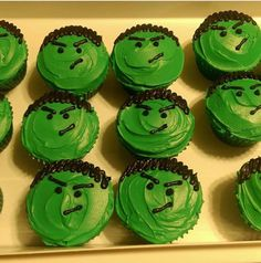 My son's Hulk cupcakes! 2015 - Visit to grab an amazing super hero shirt now on sale! Hulk Birthday Cakes, Hulk Birthday Parties, Superhero Birthday Party, Birthday Cupcakes, Birthday Fun, Birthday Ideas, Hulk Cupcakes, Cupcakes For Boys, Super Hero Cupcakes