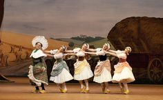 Philip Mosley as Widow Simone and Francesca Filpi, Samantha Raine, Vanessa Fenton and Kristen McNally as Clog dancers in La Fille Mal Gardee...