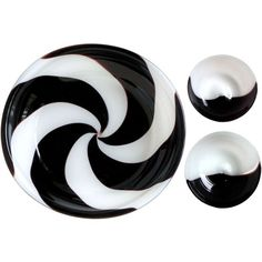 1stdibs | Venini Murano Signed 3 Piece Set of Italian Art Glass Black and White Bowls
