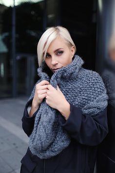 Grey | Gray alpaca wool snood | Knitted scarf | Infinity scarf | Chunky scarf | Shalf | Loop scarf | Hooded | Designer's scarf | Kotè design by KoteStudio on Etsy