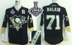 Penguins #71 Evgeni Malkin Black Autographed 2017 Stanley Cup Final Patch Stitched NHL Jersey