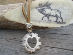 Antler Burr Heart Necklace
