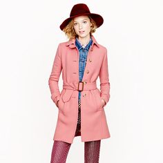 """Double-Cloth Slim Trench from J.Crew. Love the pink color but comes in other awesome colors like a """"brilliant cobalt."""""""