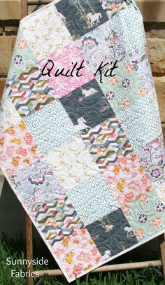 Quilt Kit, Fantasia Unicorn Horse, Baby Girl Toddler Bed Quilt, Nursery Bedding, Sewing Quilting Project, Pink Mint Green Gray, Modern by SunnysideFabrics