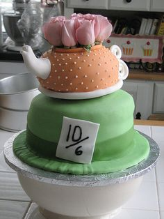 simple mad hatter tea party cake with flowers