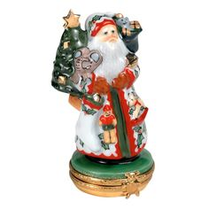 Lynn Haney's Holly Santa Limoges Box | Limoges Boxes | Handpainted Porcelain | Collectables | ScullyandScully.com