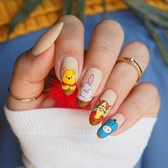 Freehand Winnie The Pooh and friends (PR samples) Edgy Nails, Dope Nails, Stylish Nails, Pink Nails, Gel Nails, Grunge Nails, Disney Acrylic Nails, Summer Acrylic Nails, Best Acrylic Nails