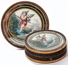 Antique French Eglomise Bonboniere, Chocolates or Pastile Box, Snuff with Cupid