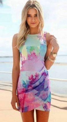 Gorgeous Rainbow colors! Multicolor Floral Pleated Irregular Round Neck Sleeveless Mini