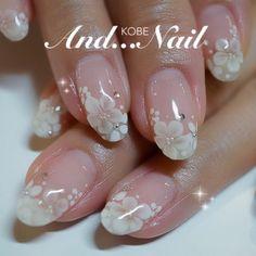 ★2014年清楚系&ブライダルネイルまとめ★ Cute Simple Nails, Classy Nails, Cute Nails, Wedding Nails For Bride, Bride Nails, Pretty Nail Art, Beautiful Nail Art, Ombre Nail Designs, Nail Art Designs