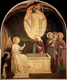 Las mujeres en el santas sepulcro, huile de Fra Angelico (1395-1455, Italy)