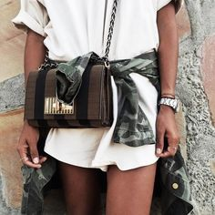 Pin for Later: How to Style an Army Jacket — Just in Time For Fall Cinched Around the Waist Over a Long White Tee