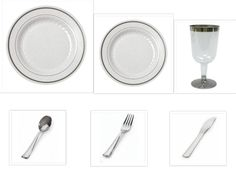 China Disposable Plastic Plates White w/Silver Trim + Glasses + Cutlery Wedding  sc 1 st  Pinterest & OCCASIONS