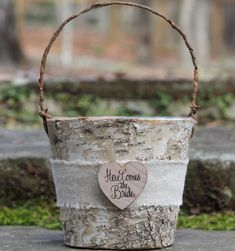 If we decide to have a larger bridal party/flower girl/ring bearer Burlap Here Comes The Bride Birch Flower Girl by MichelesCottage, $34.50