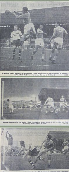 Gillingham 1 Crystal Palace 2 in Sept 1960 at Priestfield Stadium. The action from Division 4 .