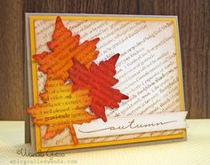 could do with Texana leaves on book page and then distress ink color Designs - Jimmye Sue Mitchell Mitchell Autumn Leaves Craft, Autumn Crafts, Fall Leaves, Halloween Cards, Fall Halloween, Scrapbooking Layouts, Scrapbook Cards, Leaf Crafts, Thanksgiving Cards