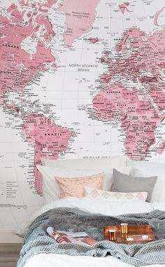 Major bedroom envy. This pink and white map mural combines beauty with sensational detail, perfect for modern bedroom or home office spaces.