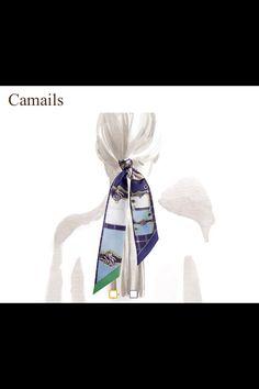 12942bef2d36 Twilly Camails Bleu Vert noué - Hermès