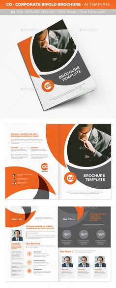 CO - Corporate Bifold Brochure Template Vector EPS, AI Illustrator. Download here: https://graphicriver.net/item/co-corporate-bifold-brochure/17012286?ref=ksioks