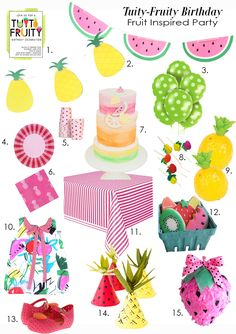 Birthday Party Idea, Pink Birthday, Pineapple Birthday, Tuity Fruity Birthday! Fruit inspired birthday inspiration. Pink, pineapple, watermelon, strawberry, party supplies, paper products.  Fruit dress and toddler shoes.  Party planning. Kids party. Summer party.  See full post on www.the-moments.com
