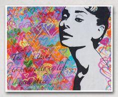 Street Art Photography - Audrey Hepburn Graffiti - Los Angeles Street Art - Audrey Hepburn Quote - 8 x 10 Print. $25.00, via Etsy.