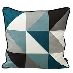 4) Go for a cool colour palette  Dusty greys, light teal and duck egg and Nordic blues beautifully balance warm and light-coloured wood. Clean, crisp white is the perfect accent.  Geometric cushions are an easy way to add 1950s flair.  Geometric Remix cushion in blue, 59.95, Ferm Living, 95% Danish    ^  what the guy before me said=P