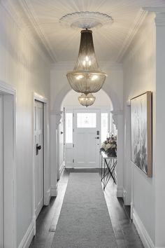 Create a great impression to your hallway by illuminating and decorating this space. Stylish hallway lighting ideas will give a welcoming circumference from the start. Most of all, it is . Led Hallway Lighting, Hallway Lamp, Dark Hallway, Modern Hallway, Entry Hallway, Upstairs Hallway, Hallway Chandelier, Entrance Lighting, Hallway Runner