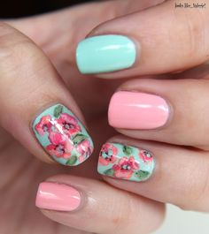 Flower nails for spring using #Essie