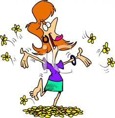 clip art of a extremely happy woman | Happy Woman Running Barefoot Through Flowers