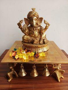 brass ganesh sitting on chowki Pooja Room Door Design, Home Room Design, Brass Diyas, Ganesh Statue, Home Temple, Ganesha Pictures, Temple Design, Puja Room, Diwali Decorations