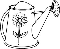 Watering Can : Garden Watering Can Coloring Page
