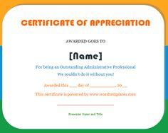Employee certificate of appreciation certificates pinterest yelopaper Images