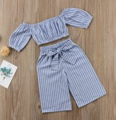 Baby Kids Girls Off-shoulder Tops T-shirt Casual Stripe Bowknot Pants OutfitsCrop top with matching loose fitted pants for that little fashionista of yours.Fashionista is an understatementSewing for kids girls toddlers outfit 45 new IdeasExplore our Baby Outfits, Little Girl Outfits, Toddler Outfits, Kids Outfits, Baby Girl Fashion, Kids Fashion, Trendy Fashion, Fashion 2016, Toddler Fashion