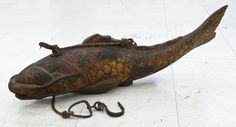 Japanese Gilt Carved Wood Carp Fish Hanging Kettle Hook