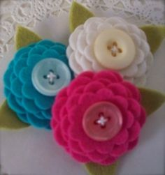 Felt flowers with matching button centre