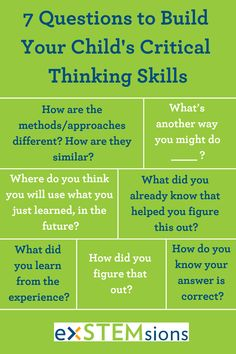 Here are 7 easy questions that you can use to help build your child's critical thinking skills. Use them whenever you find yourself wondering how your child figured something out, or when you want them to think a little more deeply! Problem Solving Skills, Math Skills, Social Skills, Life Skills, Coping Skills, Social Issues, Critical Thinking Activities, Critical Thinking Skills, Creative Thinking Skills